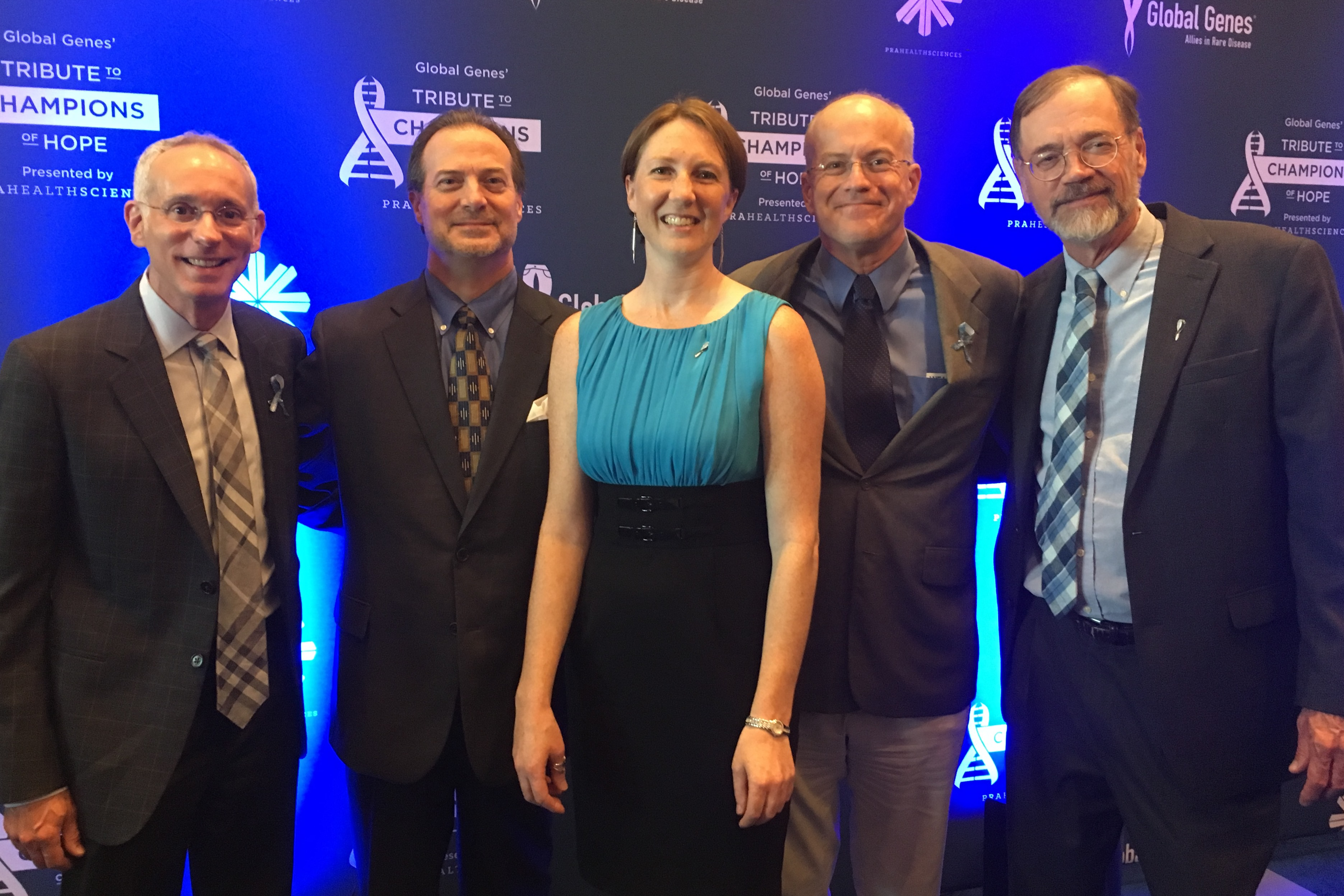 Dr. Dan Ory of WashU, Phil Marella of DART, Dr. Cristin Davidson of the NIH, Dr. Charles Vite of the University of Pennsylvania and Dr. Steve Walkley of Albert Einstein College of Medicine at the Global Genes Gala